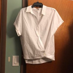White shirt with silver stripes